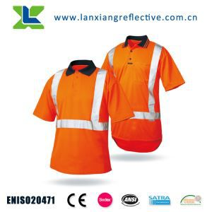 Class 2 Short Sleeve Moisture Wicking Reflective Safety Polo Shirt